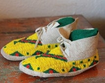 Vintage Authentic Native American Moccasins, Sioux Children's Beaded Moccasins - ON SALE!
