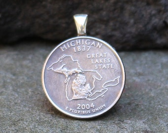 Michigan Charm (Pendant) – Michigan Pendant - Michigan State Quarter Charm – The Great Lakes Charm