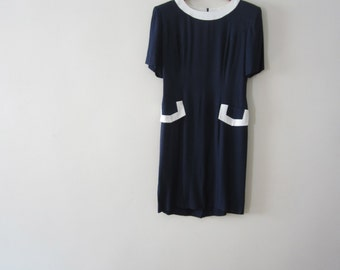Sale - 1970s Navy Blue and White Dress - Size 6