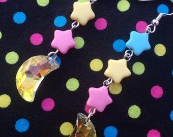Pastel Star & Crescent Moon Crystal Earrings