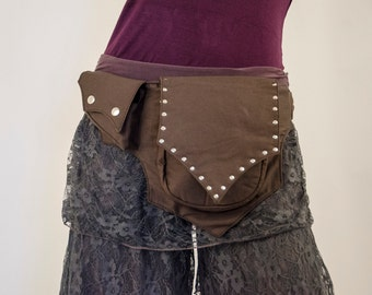 Fairy Pocket Belt Canvas (hip bag, hip belt, pocket belt, utility belt, sling bag, travel belt, festival clothing, zelda, leaf)