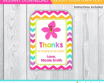 Luau favor tags / Luau gift tags / Luau Decoration / Luau Printable / Luau label / Luau editable favor tags / INSTANT DOWNLOAD