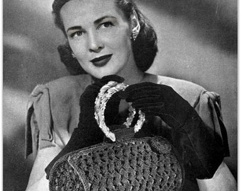 Vintage Crochet Pattern -  Digitally Restored 1940's Handbag Purse Pattern - PDF - Instant Download