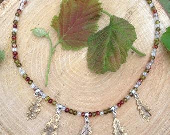 Forest Brass Oak Leaf Necklace