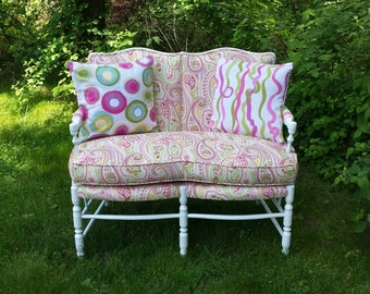 Vintage Upcycled Shabby Chic French Settee