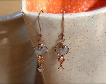 Moss Agate Copper Wire Wrapped Earrings