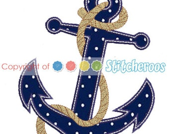 Anchor Applique Design -In Hoop sizes  4x4, 5X7, 9x9- Instant Download - for Embroidery Machines