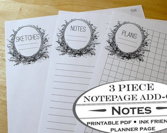 3 Piece Printable Notepaper Add-on for Garden Planner, Garden Journal, Homestead Journals and Housekeeping Planners