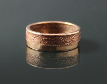 Celtic Design Bronze Coin Ring Double Sided  Canada 1 cent 1907  # CR 19