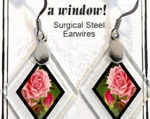 """Earrings """"Roses"""" from rescued, repurposed window glass~Lightening landfills one tiny glass diamond at a time!"""