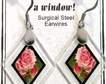 "Earrings ""Roses"" from rescued, repurposed window glass~Lightening landfills one tiny glass diamond at a time!"