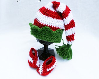 Christmas Elf Hat, Toddler Elf Hat,  Newborn Christmas Hat, Preemie Hat, Christmas Photo Prop, SLIPPERS SOLD SEPARATELY