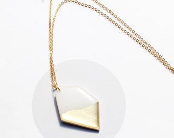gold dipped pendant white and gold jewelry geometric pendant resin pendant white minimalist jewelry long gold chain long gold necklace