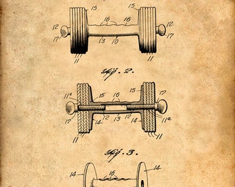 Dumbbell Patent Print Art - Gym Patent Poster - Health Art
