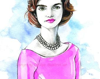 Jackie Kennedy portrait, Jackie Kennedy illustration,Jackie Kennedy art, Jackie Kennedy portrait, Home/office decor, Wall art,