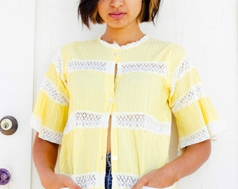 Vintage Yellow Button-Up  Blouse with Lace