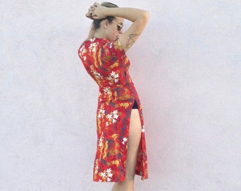 Vintage Oriental-Style Tropical Red Dress with Open Sides