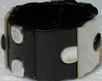 French Bracelet Cuff: Black and White Solid Shell