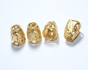 4 Pcs 24k Gold Plated End cap, Bead Caps, 10x13mm , Filigree end cap , Cone, Cord end, Leather End , NED , BRT85
