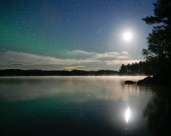 Moon and Stars, Northern Lights Photograph, Fine Art Photography, Nature Photography, Photograph Decor
