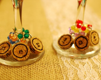 Set of Six Handmade Stamped Recycled Cork Wine Charms