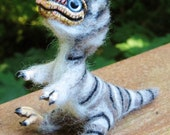"""Needlefelted T-rex chick, named """"Stripe"""""""
