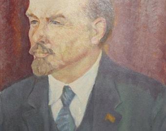 Russian 1964 oil painting portrait Vladimir Lenin