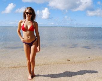 30% OFF! Red 'Milolii' Triangle Swimsuit Top Adjustable String Bikini Halter Handmade in Hawaii