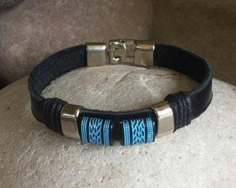 FREE SHIPPING-Men's Bracelet, Men's Leather Bracelet, Black Leather Bracelet, Men's Cuff Bracelet, Bracelets for Men, stainless Steel Clasp