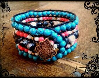 5 Row Beaded Cuff Bracelet (Zebra/Turquoise/Coral/Bronze/White.)
