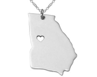 Sterling Silver GA State Necklace,Georgia State Charm Necklace,State Shaped Necklace,Personalized State Necklace State Jewelry With A Heart