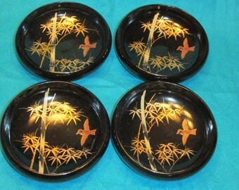 Set of 4 Vintage Japanese Wood Bowls Black with Gold Lacquer