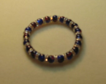 Blue and red two toned glass bracelet