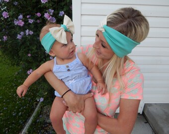 Build your own mommy and me 2-toned headband set! Adult head wrap, baby headband, adult turban, child big bow head wrap, toddler headband