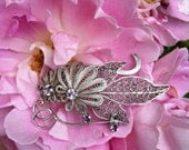 Vintage handmade brooch, 925 sterling silver with pink zirconium