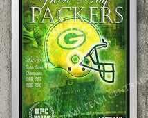 Green Bay Packers art print with Coach Lombardi, city skyline & stadium. Nice gift for Packers man cave or boys room decor. 11x16 inches
