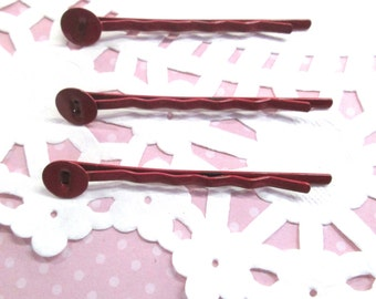 8mm Pad Red Bobby Pins, (Choose your amount)  lead and nickel free