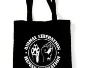 Vegetarian Animal Liberation Tote Shopping Bag