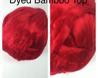 Dyed Bamboo Top Red / Red Bamboo Roving Felting / Dyed Bamboo Top Spinning / 2oz 4oz 8oz