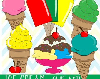 SALE! Ice Cream Clip Art, Commercial Use, digital clip art, digital images