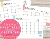 A5 PRINTABLE calendar 2015 horizontal, planner addicts, 12 PDF files,hand drawing, instant download