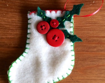 Christmas Stocking with Holly Berries