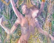 Dance art, naked woman painting, naked girl, female nudity, watercolor painting , fairy art , erotic nudity, beautiful girl art, fantasy art