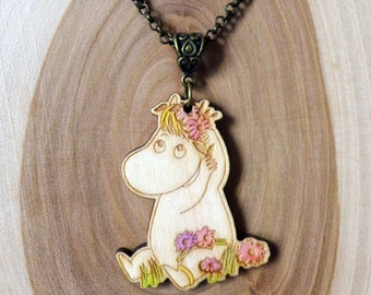 Wooden Moomin Necklace (Snorkmaiden)