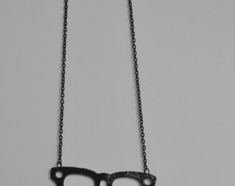 Black Glasses Retro Pendant Necklace CLOSING DOWN SALE