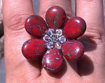 Beaded Flower Ring hand woven with Swarovski crystals