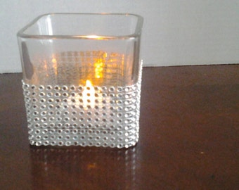 8 Wedding votives centerpiece, wedding sale, Votive candle holder,  candle holder Rhinestones square glass candle holder