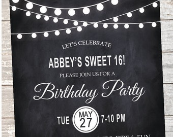 Printable Sweet 16 Birthday Party Invitation