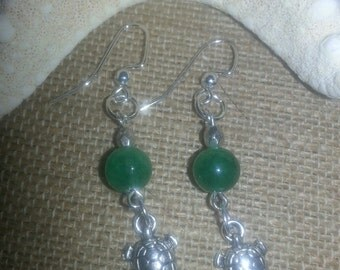 Turtle Tale Handmade Earrings Mermaid Green H2O