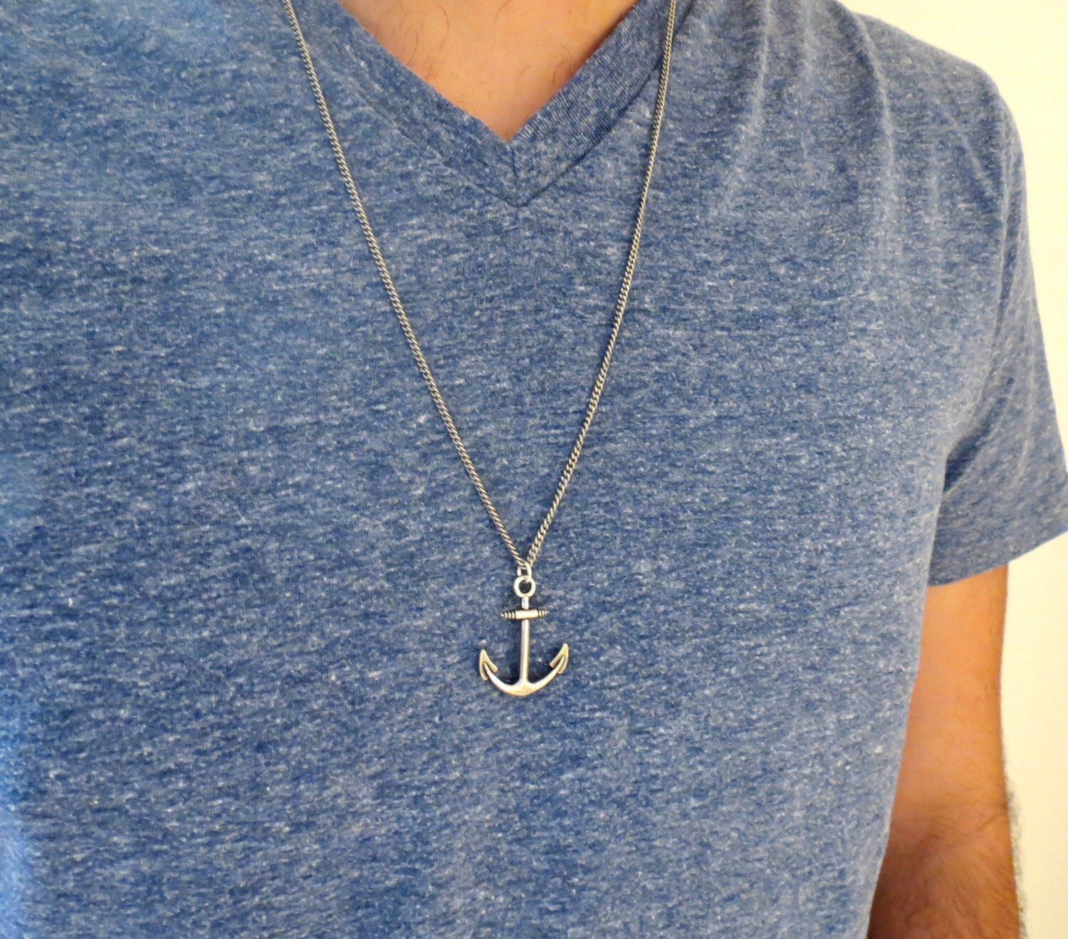 Men S Necklace Men Anchor Necklace Men Silver Necklace